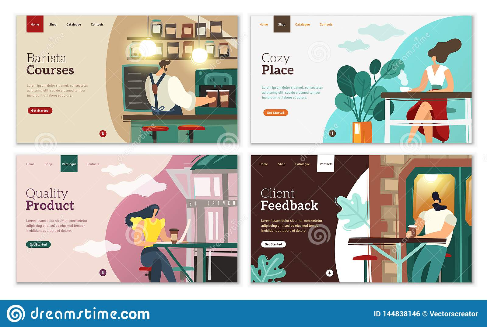 Coffee landing pages set