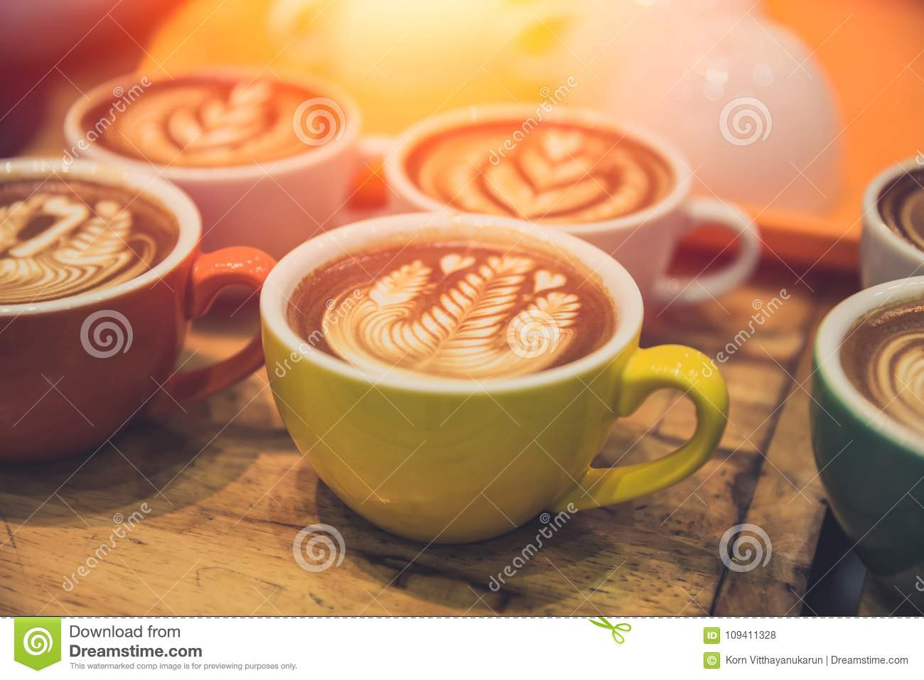 Download Coffee Latte Art Popular Hot Drink Served On Wood Table Stock Photo - Image of mocha, background: 109411328