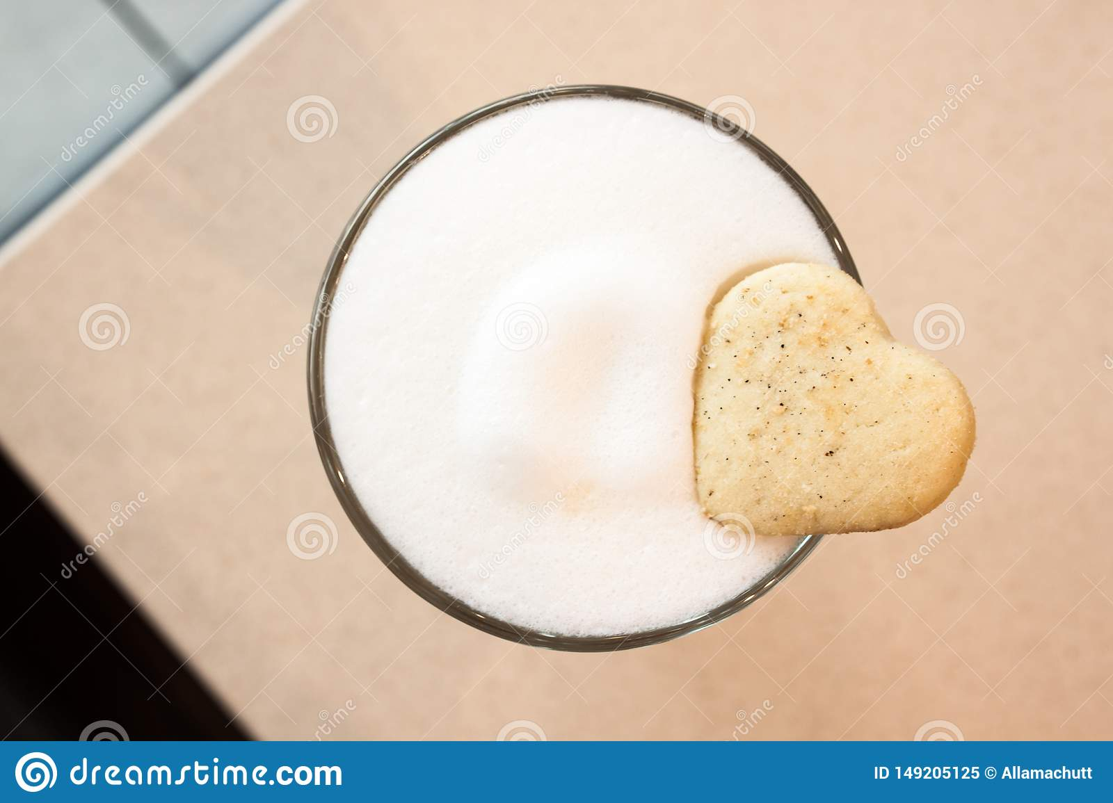 Coffee Latte and cookie.