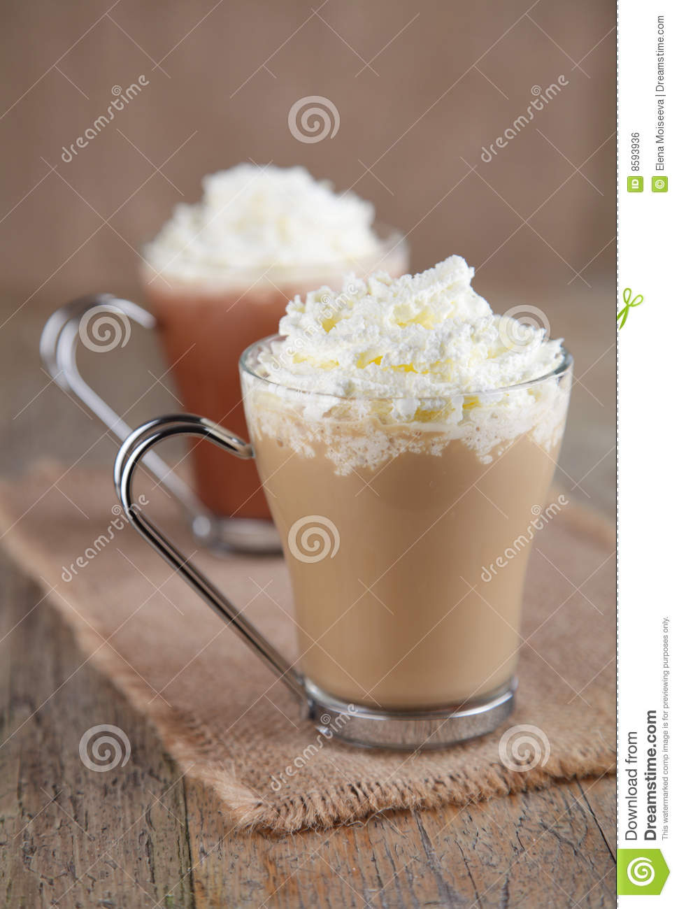 Coffee Latte And Hot Chocolate With Whipped Cream Stock ...