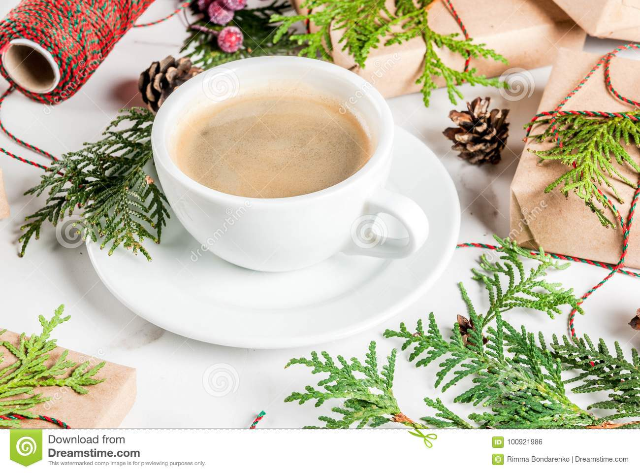 Preparation For Christmas With Coffee And Gifts Stock Photo - Image ...