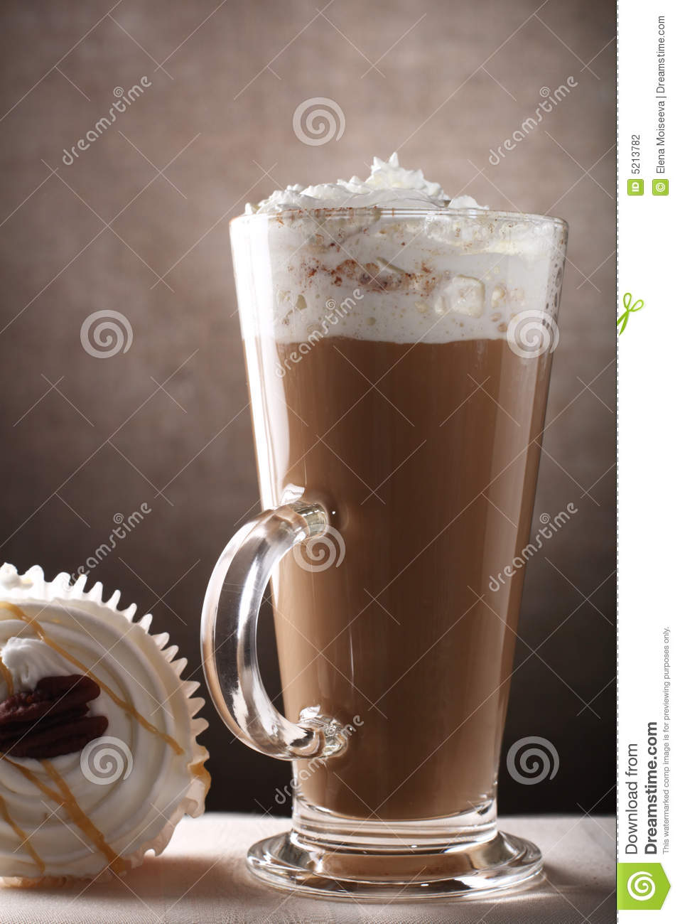 Coffee Latte In Tall Glass With Cup Cake Stock Photo