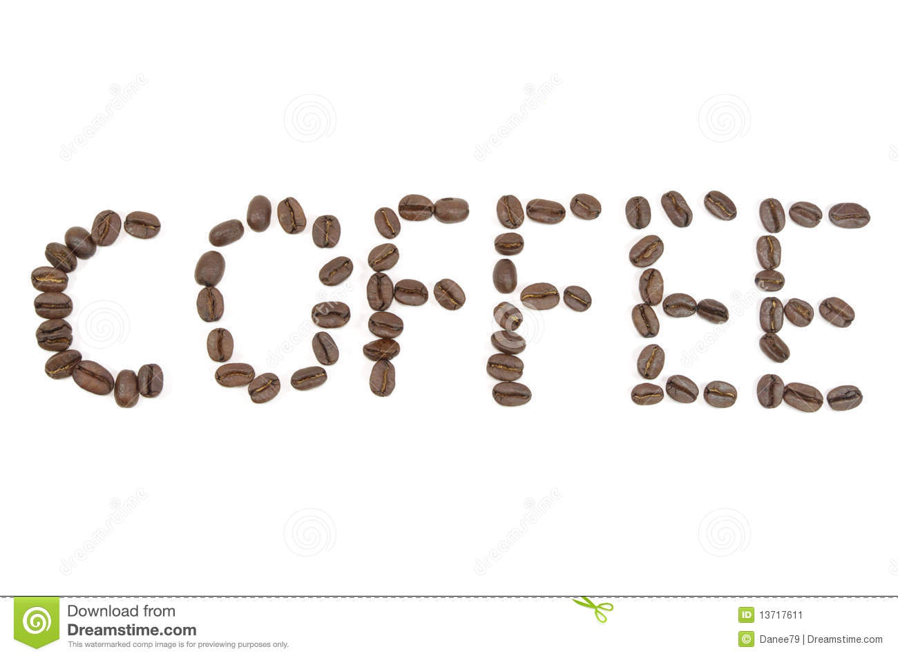 Coffee letters made by coffee beans