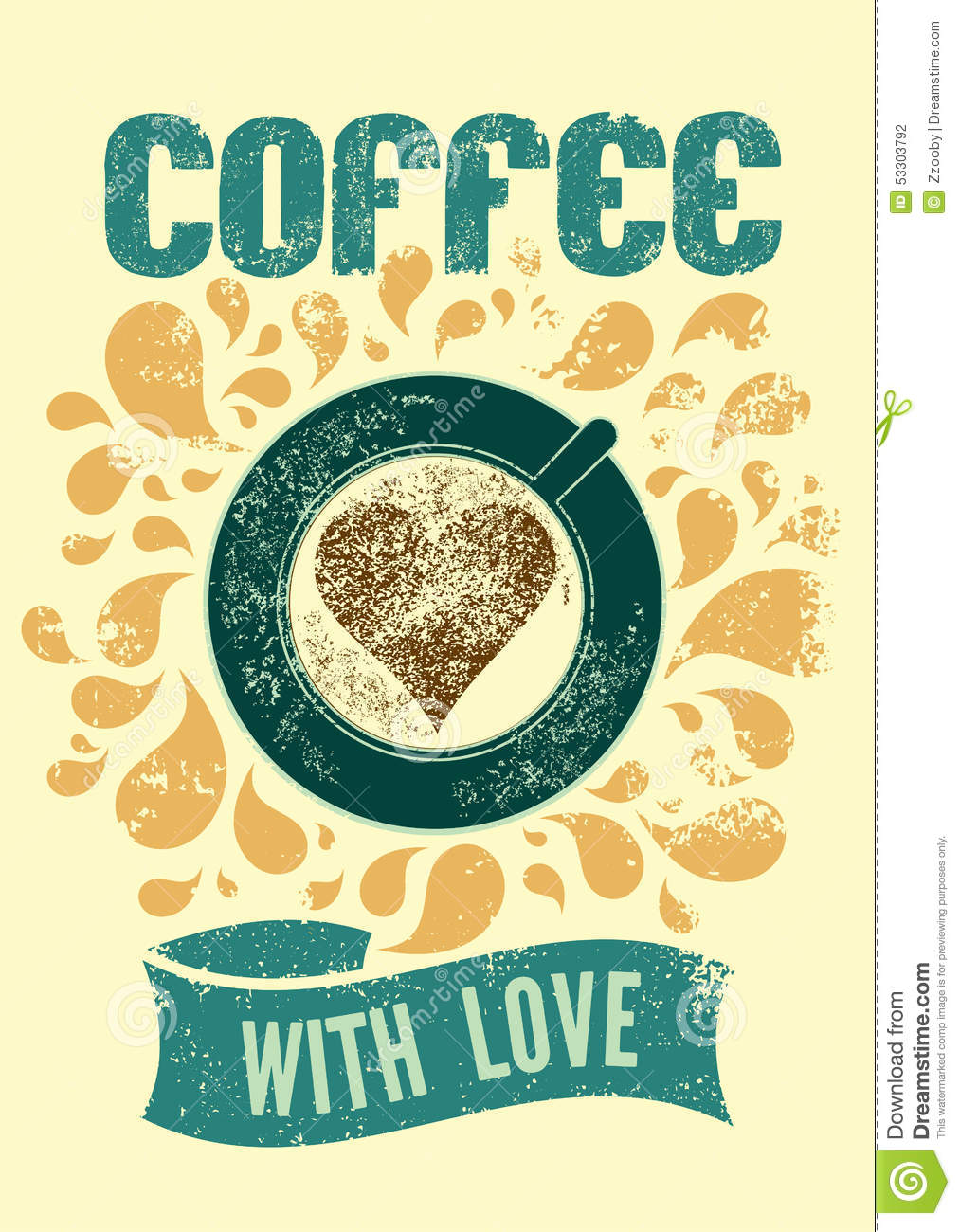 Coffee Posters Retro ~ Coffee with love typographic retro poster for cafe