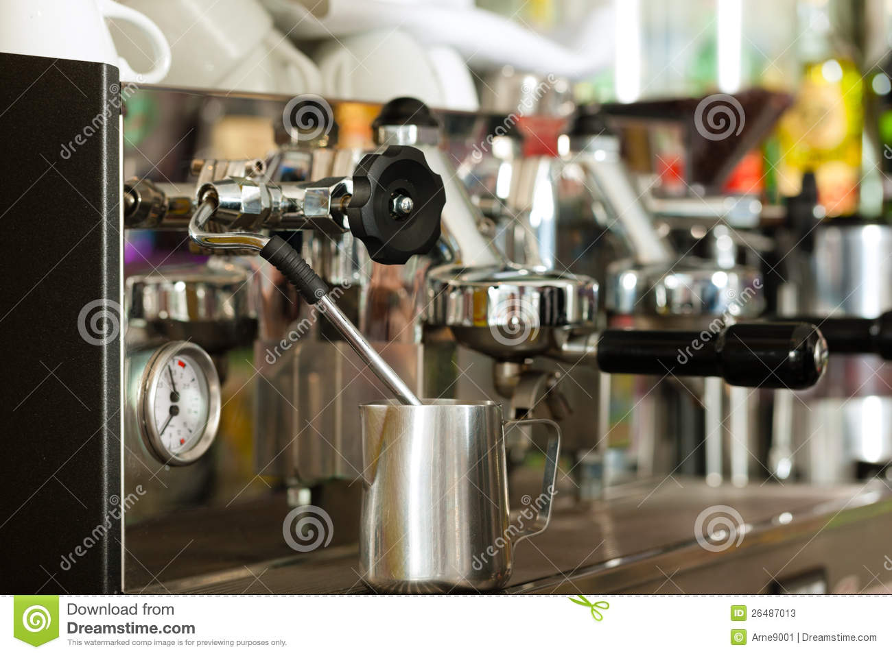coffee machine in cafe or bar stock photos image 26487013. Black Bedroom Furniture Sets. Home Design Ideas