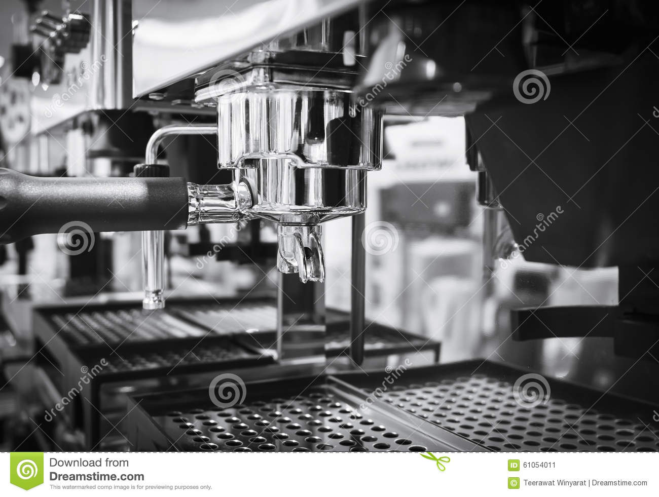 coffee machine cafe restaurant black and white stock image image of professional barista. Black Bedroom Furniture Sets. Home Design Ideas