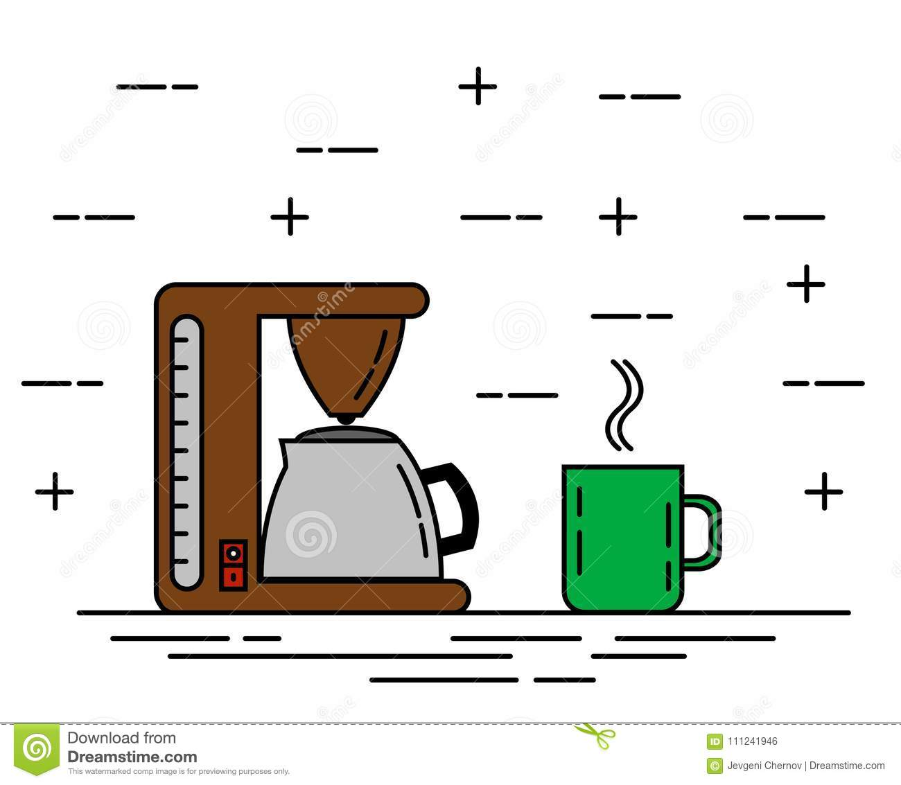 Coffee Machine With A Cup Or Mug Flat Thine Line Art Stock Vector Diagram