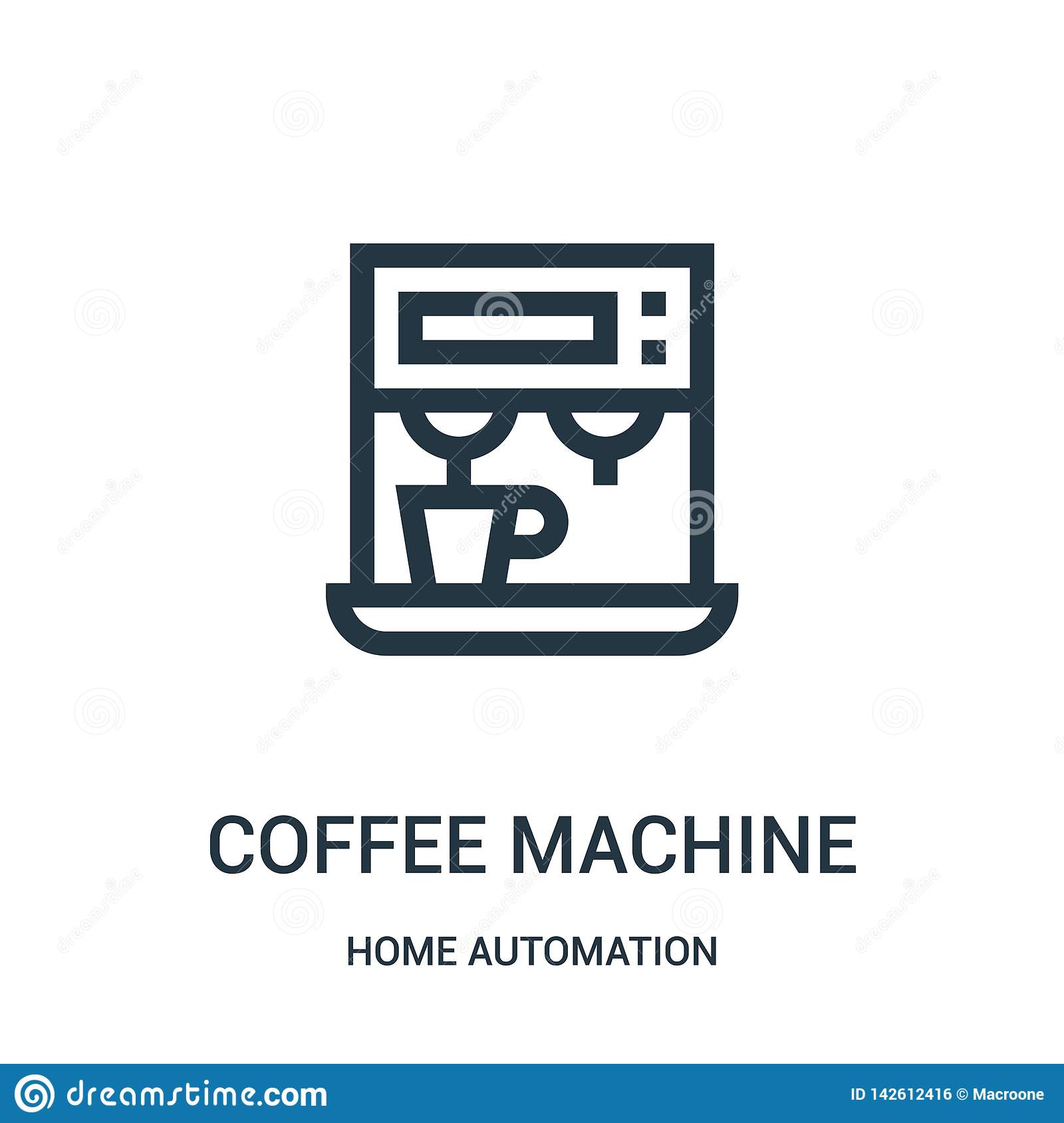 coffee machine icon vector from home automation collection. Thin line coffee machine outline icon vector illustration. Linear