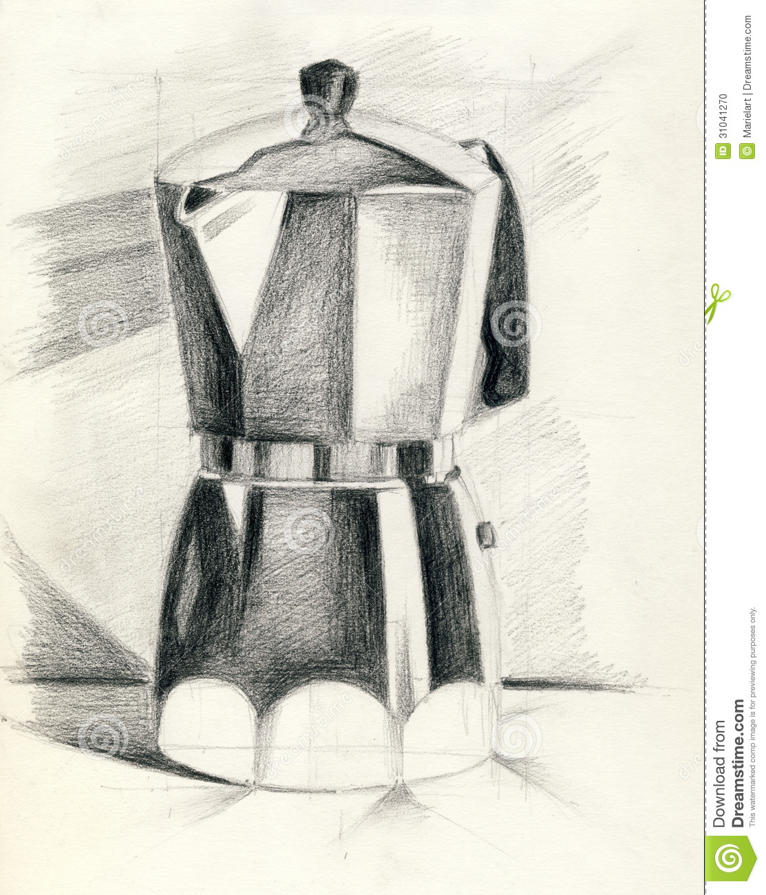 Coffee Maker Drawing ~ A coffee maker stock illustration image of item