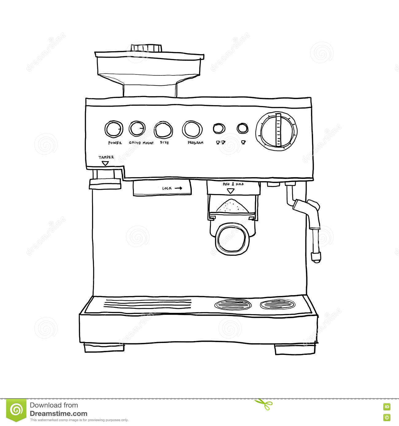 Line Drawing Maker : Coffee maker hand drawn line art illustration stock