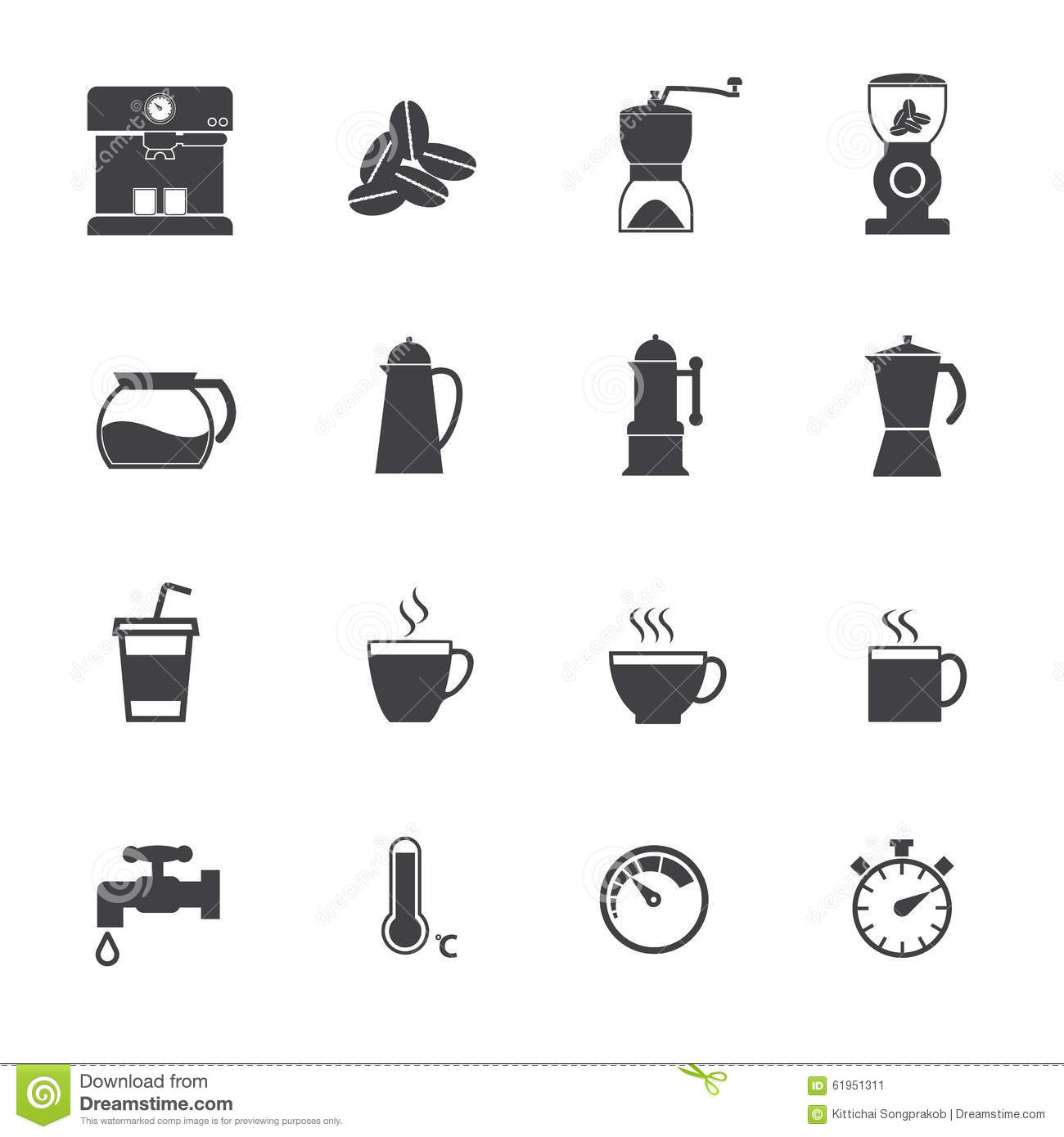 Coffee Maker Icons Set. Vector Flat Design Stock Vector - Image: 61951311