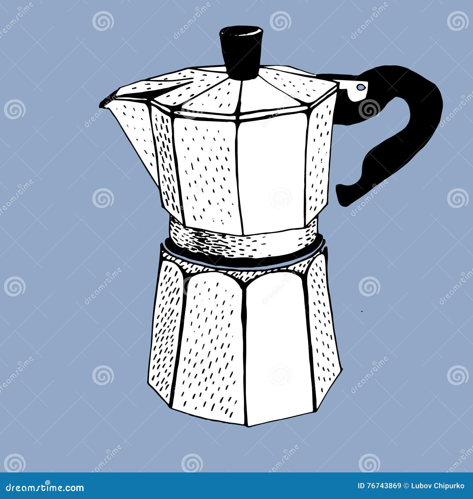 Download Coffee Maker Percolator Graphic Draw Stock Vector