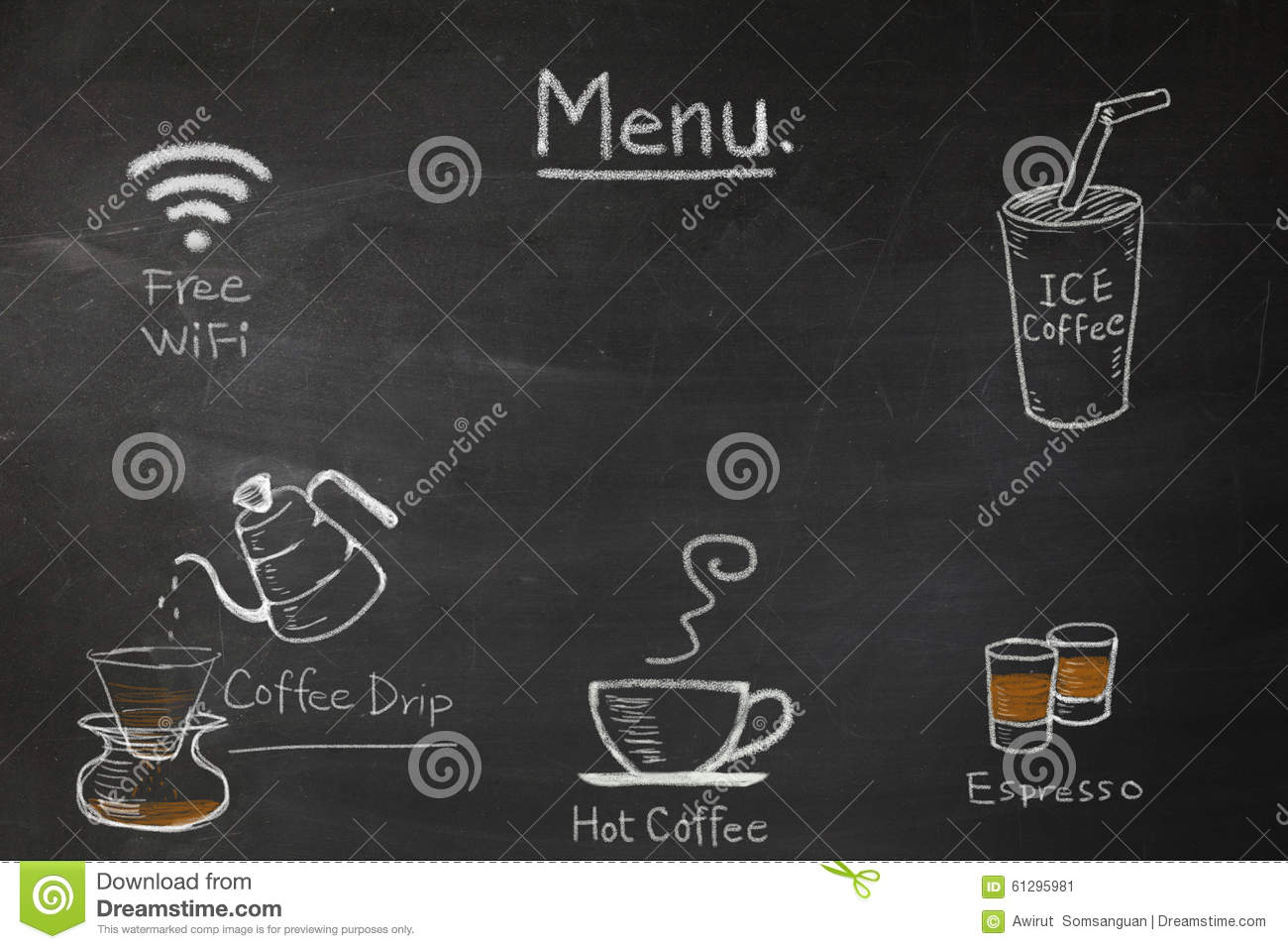 Coffee Menu On The Chalkboard Write By Hand For Coffee