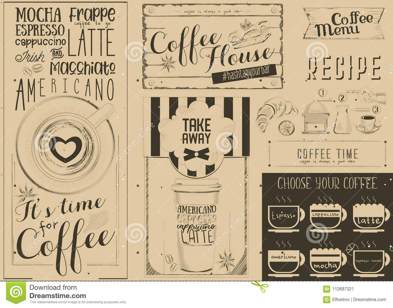 Coffee Menu Craft Placemat Stock Vector Illustration Of Label