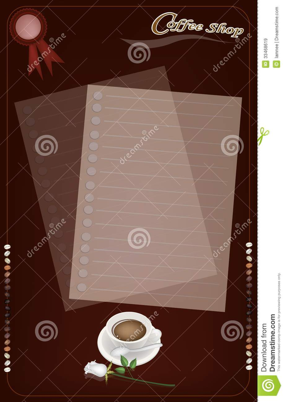 A Coffee Menu Templatefor Cafe And Coffeehouse Stock Image