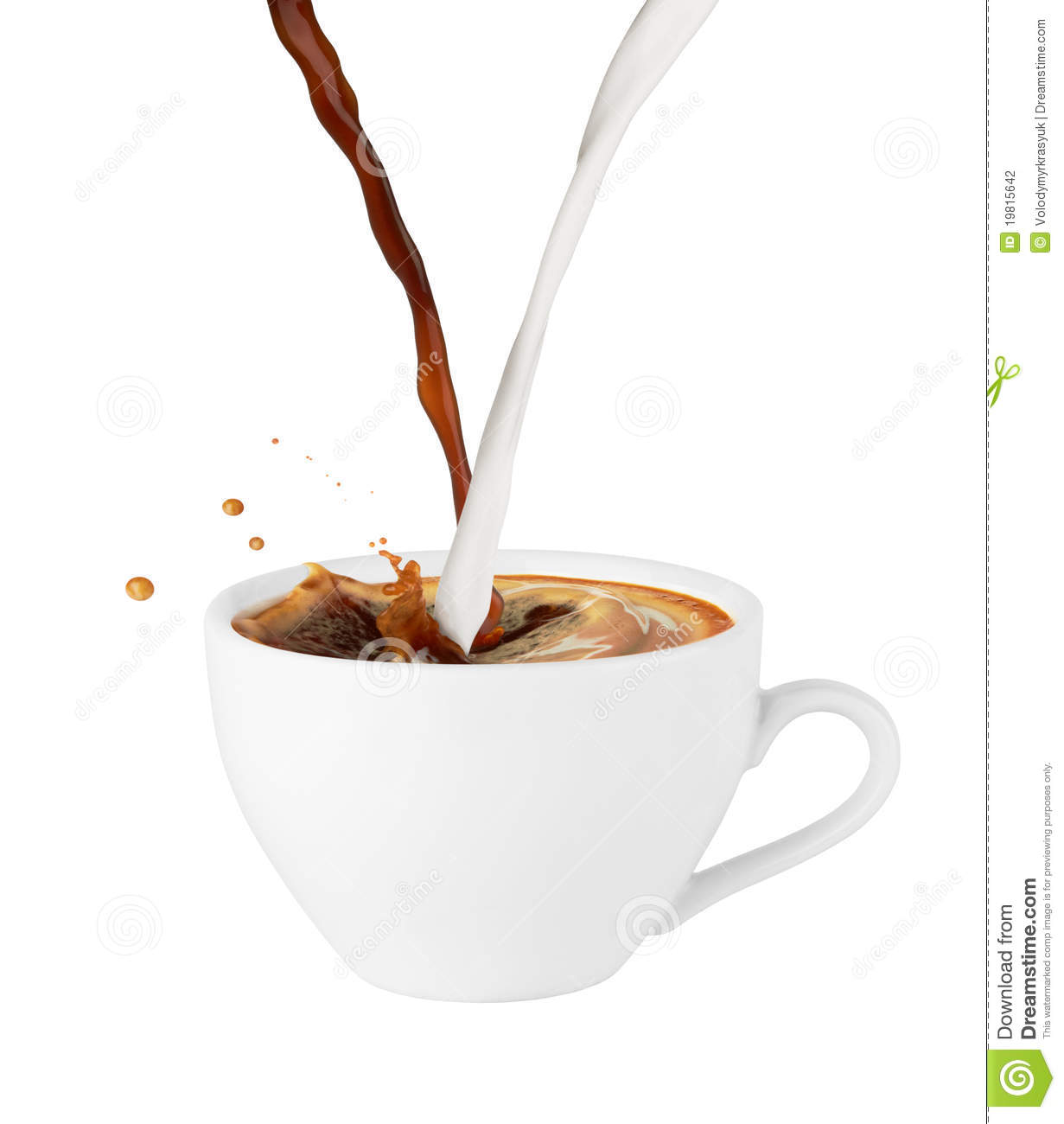 Coffee And Milk Poured In A Cup Stock Photography - Image ...