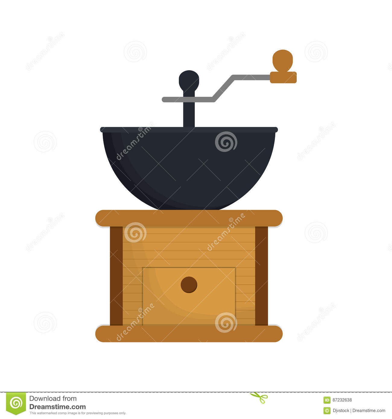 Coffee Mill Make Table Wooden Stock Illustration - Image: 87232638