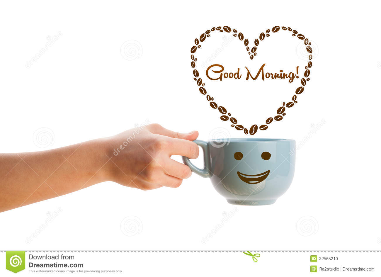 Download Coffee Mug With Coffee Beans Shaped Heart With Good Morning Sign Stock Photo - Image of brown, closeup: 32565210