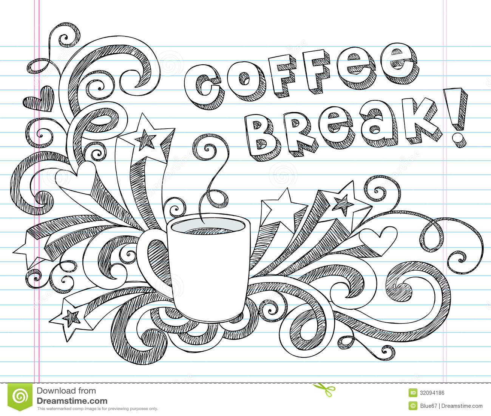 ... Illustration Design Elements on Lined Sketchbook Paper Background