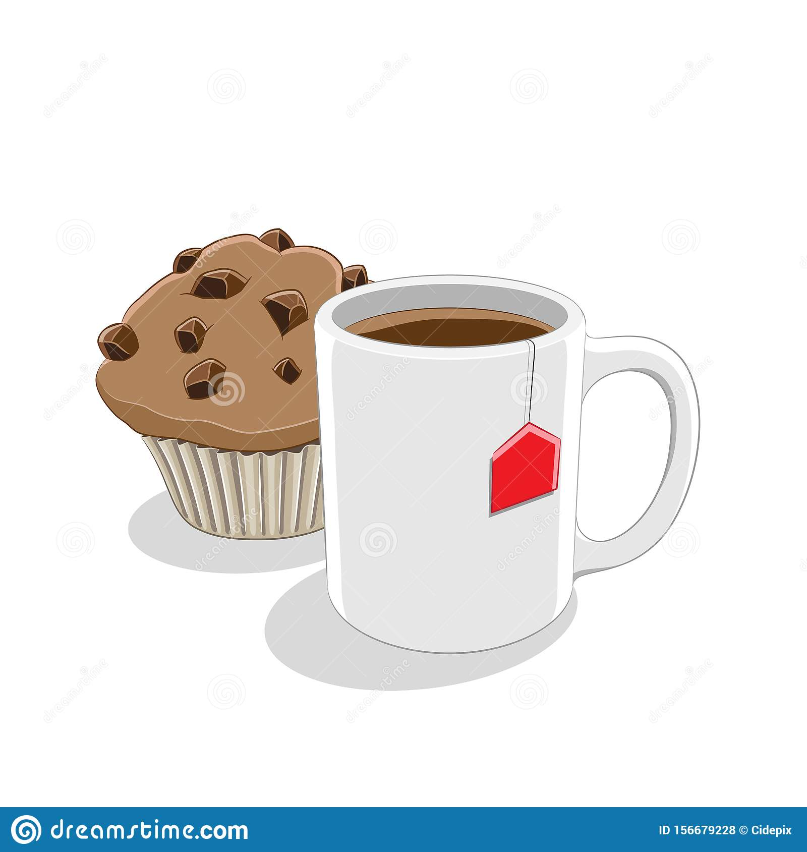 Coffee Mug And Muffin Breakfast Vector Illustration Stock Vector Illustration Of Coffee Design 156679228