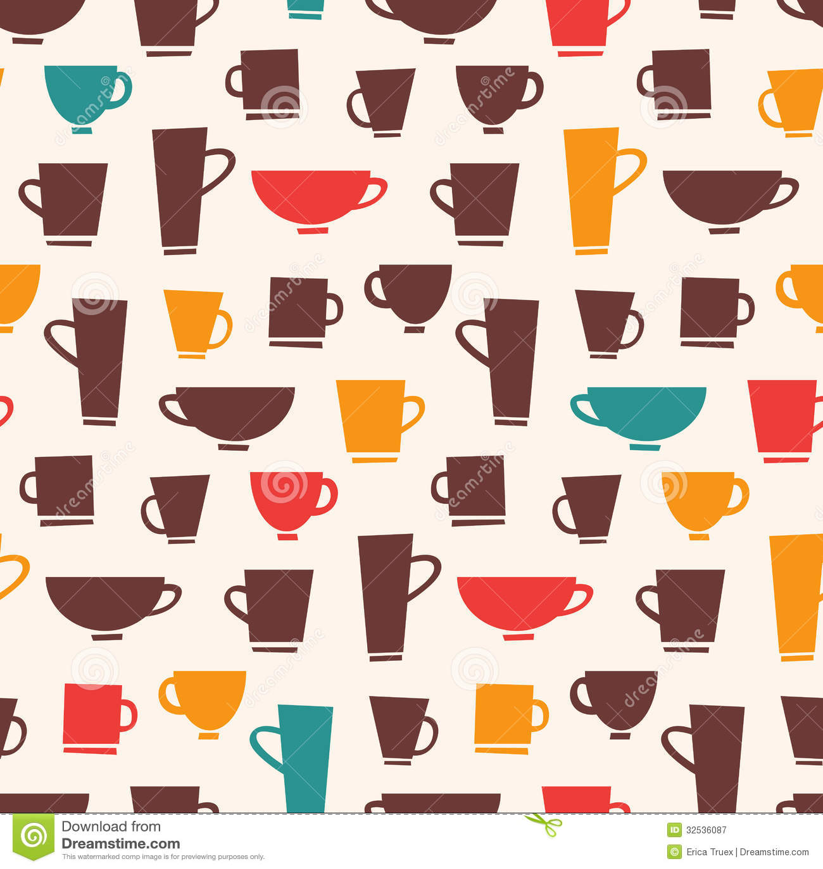 Coffee Mug Pattern stock vector. Illustration of