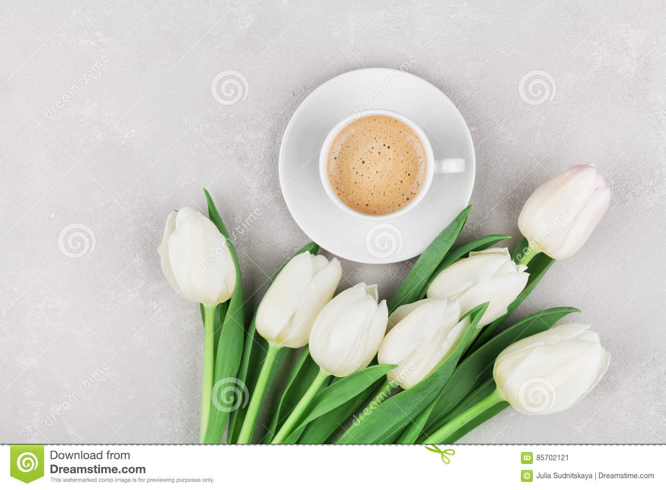 Coffee Mug With Spring Flowers For Good Morning On Gray Stone Table