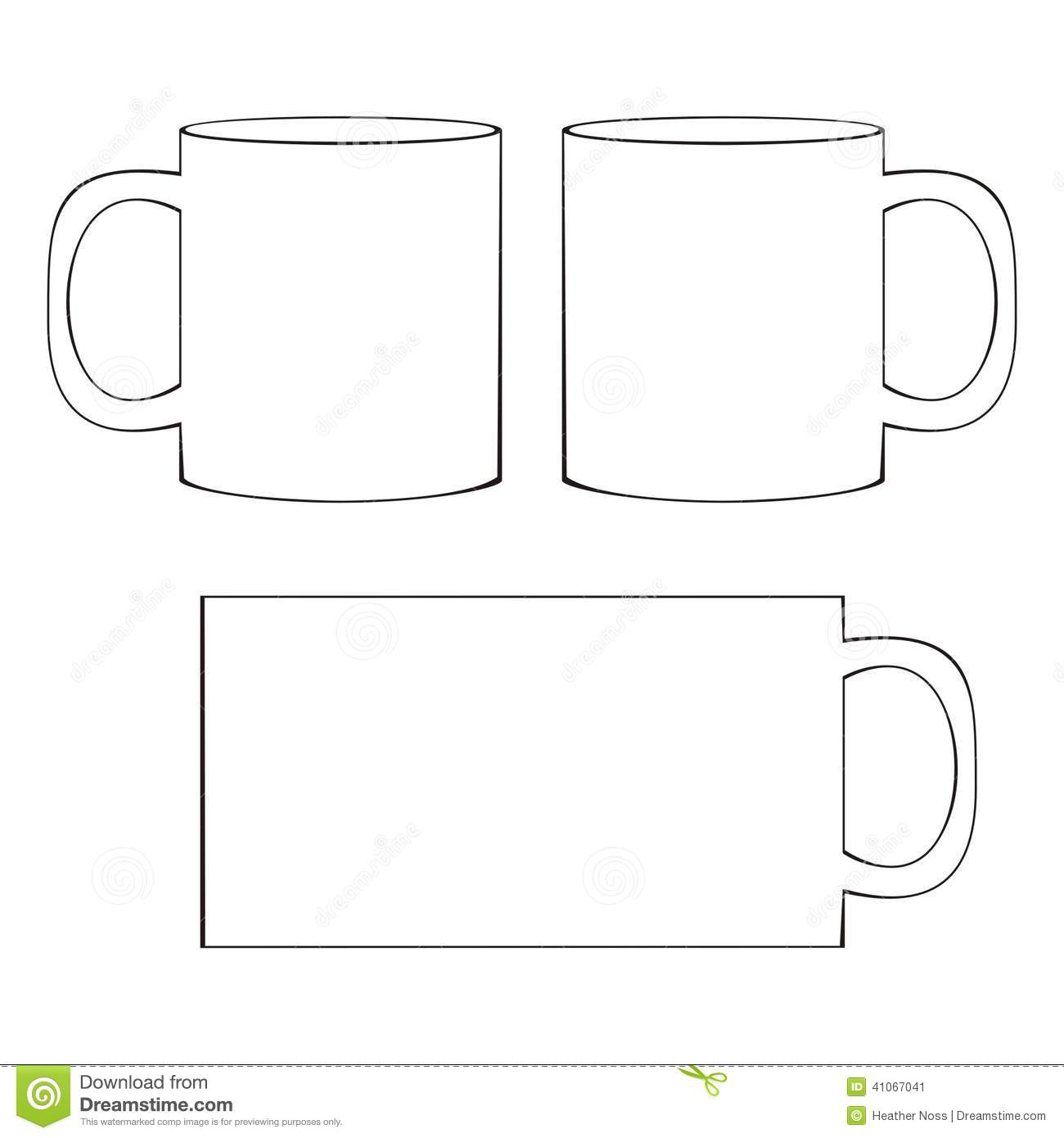 coffee mug template blank cup stock vector illustration of