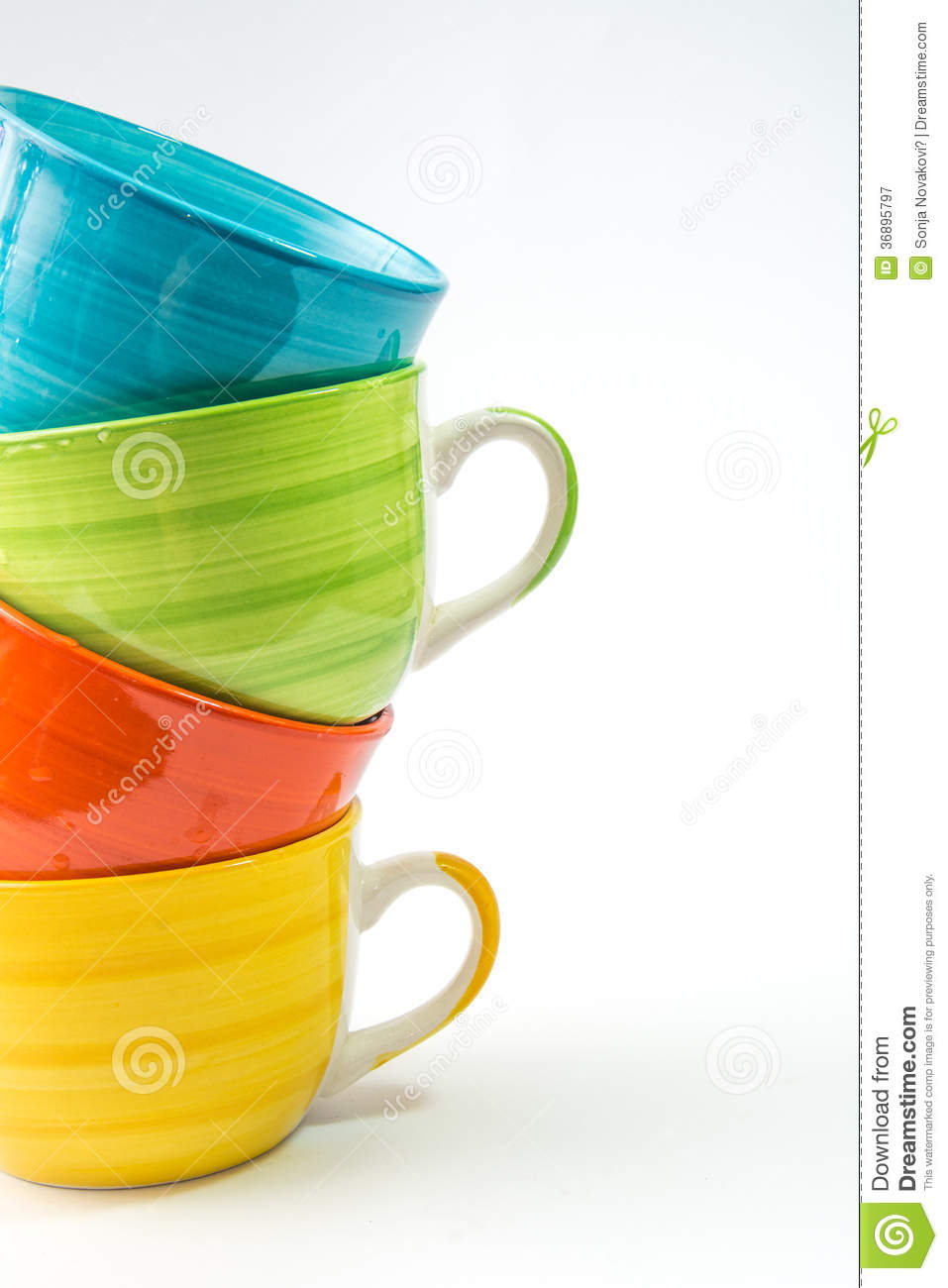 coffee mugs colorful white background stacked tea cups isolated 36895797 Small Coffee Cups Colorful Coffee Cups Royalty Free Stock Photo Image