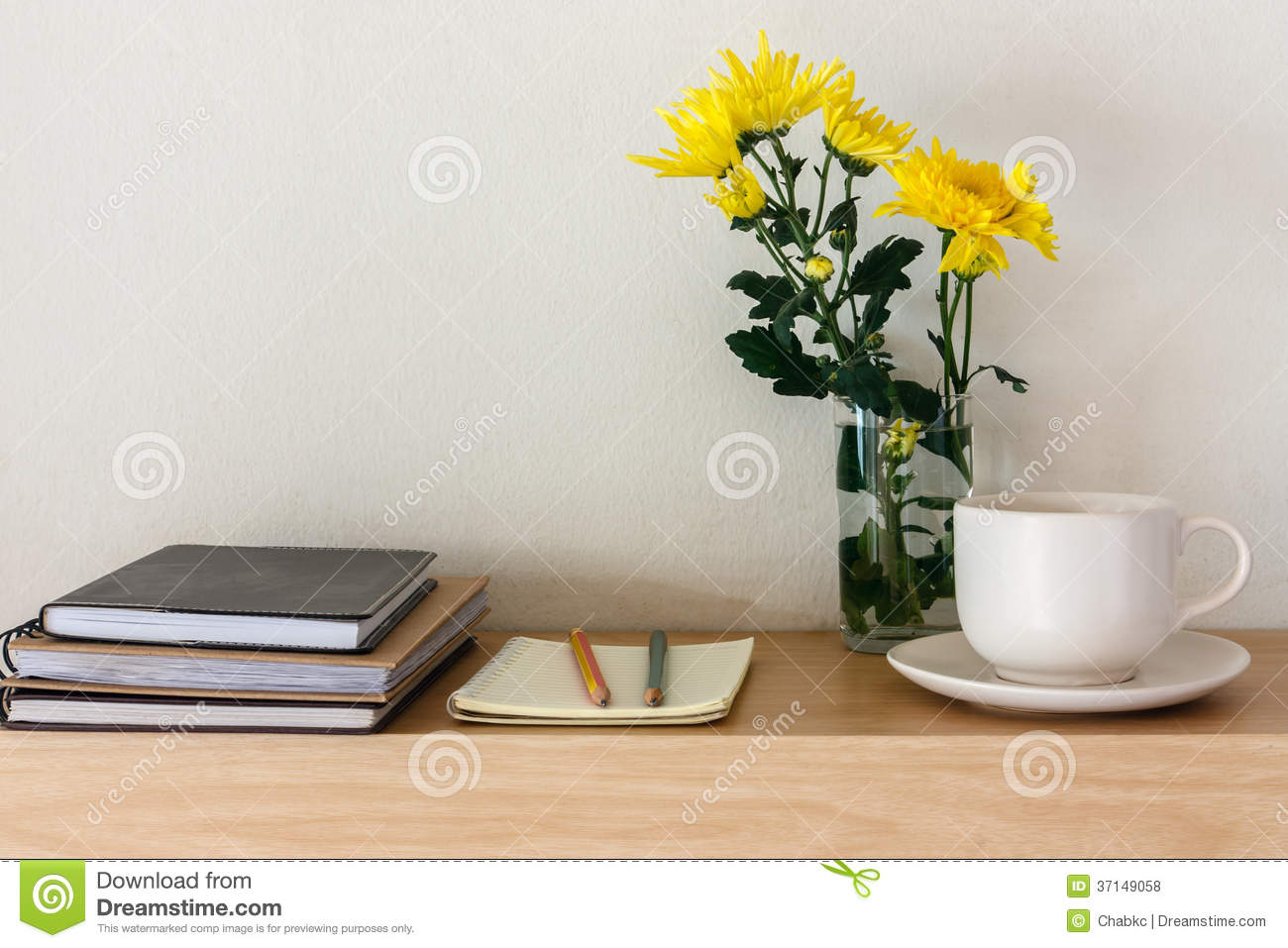 Coffee Mugs, Notebooks, Pencils And Flowers Royalty-Free ...