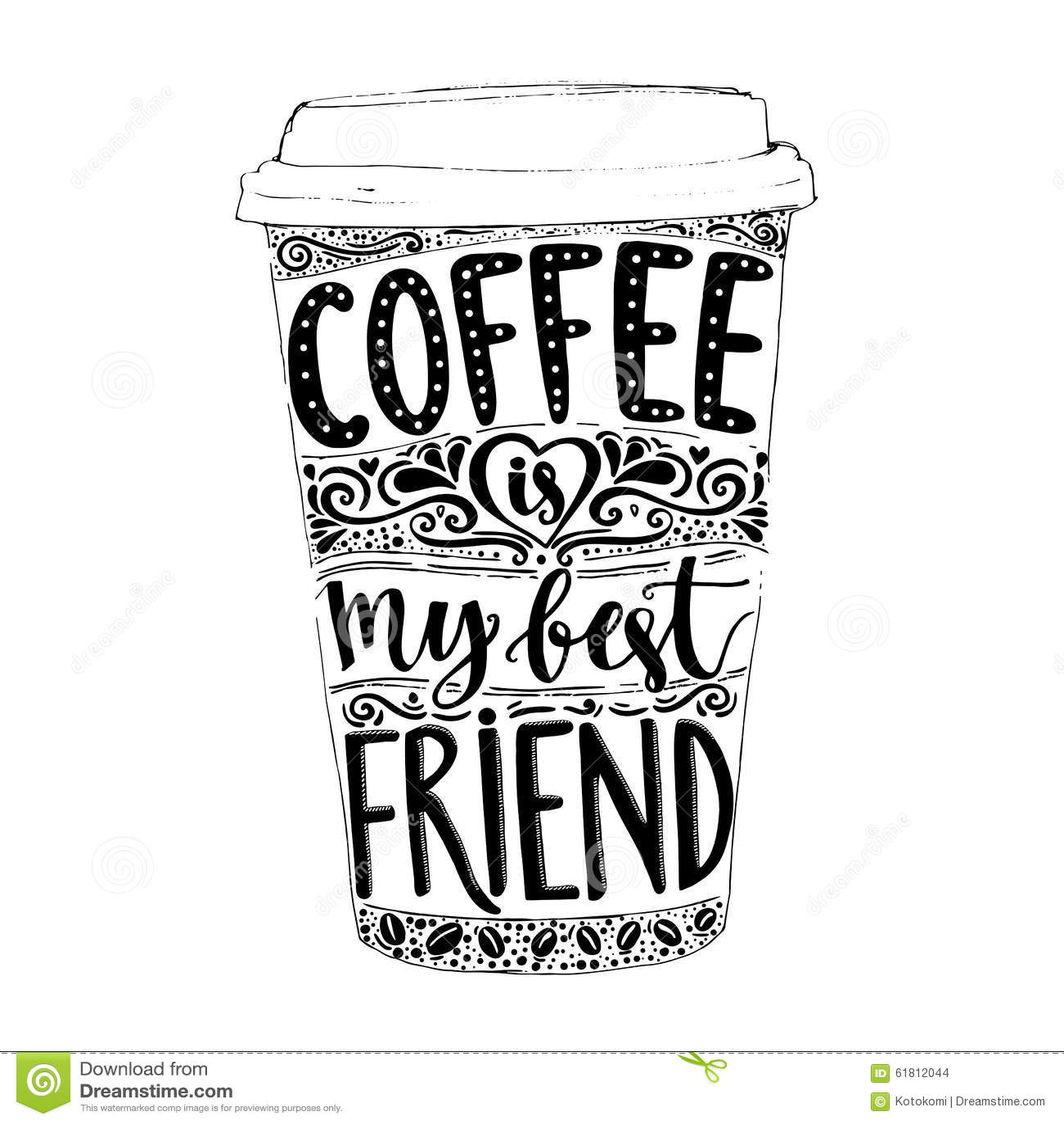 Coffee Is My Best Friend Fun Quote Vector Stock Vector