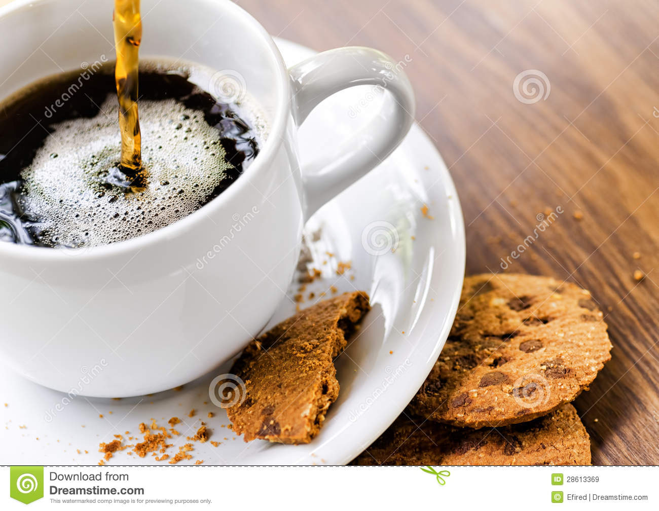 Coffee And Oatmeal Cookies On Wooden Table Royalty Free Stock Images ...