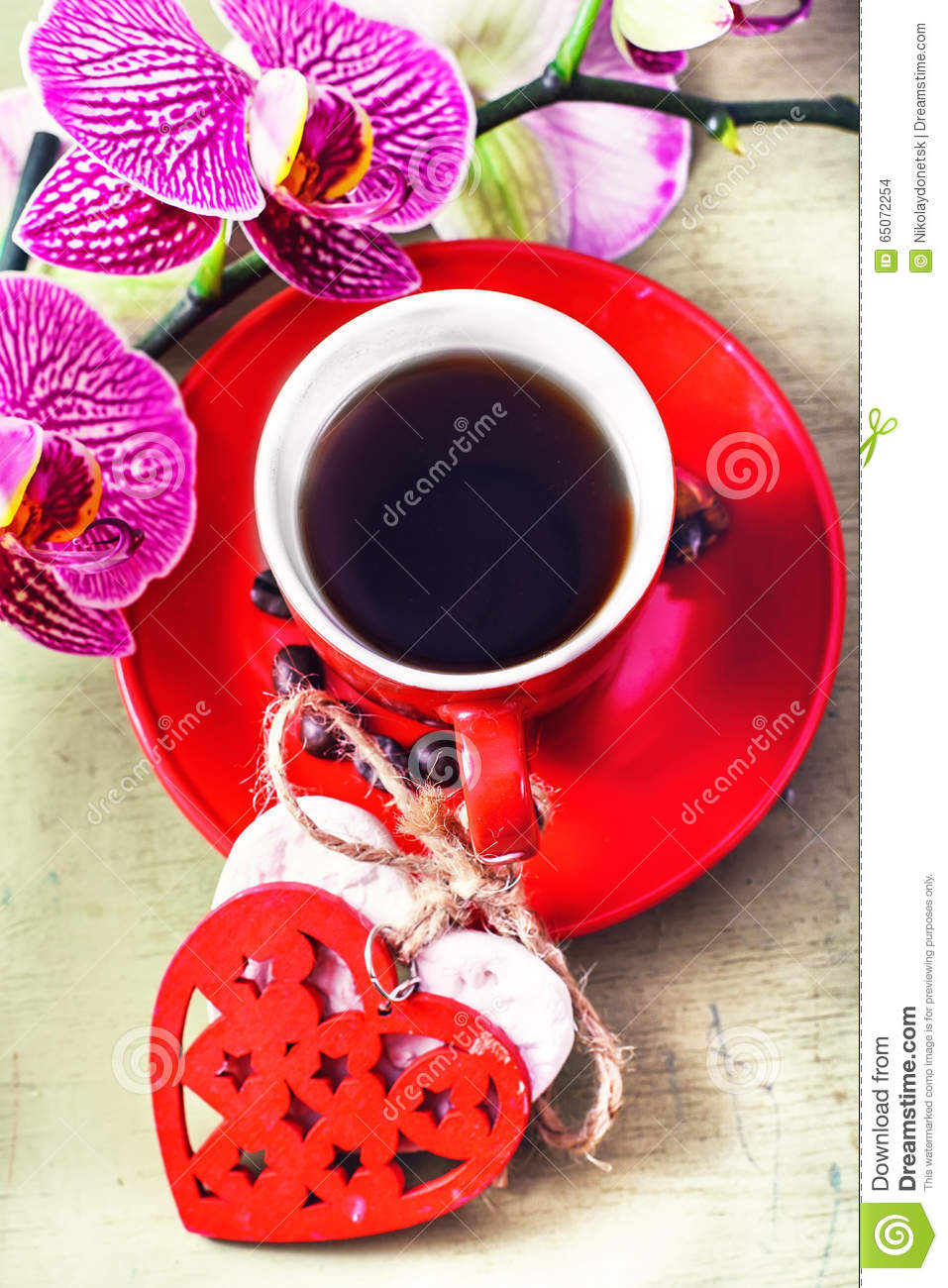 Coffee And Orchid Flower Stock Photo Image Of Event 65072254