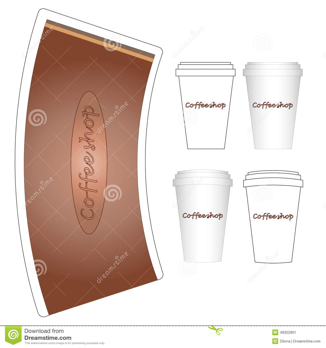 Coffee Paper Cup Mock-up Layout Stock Vector