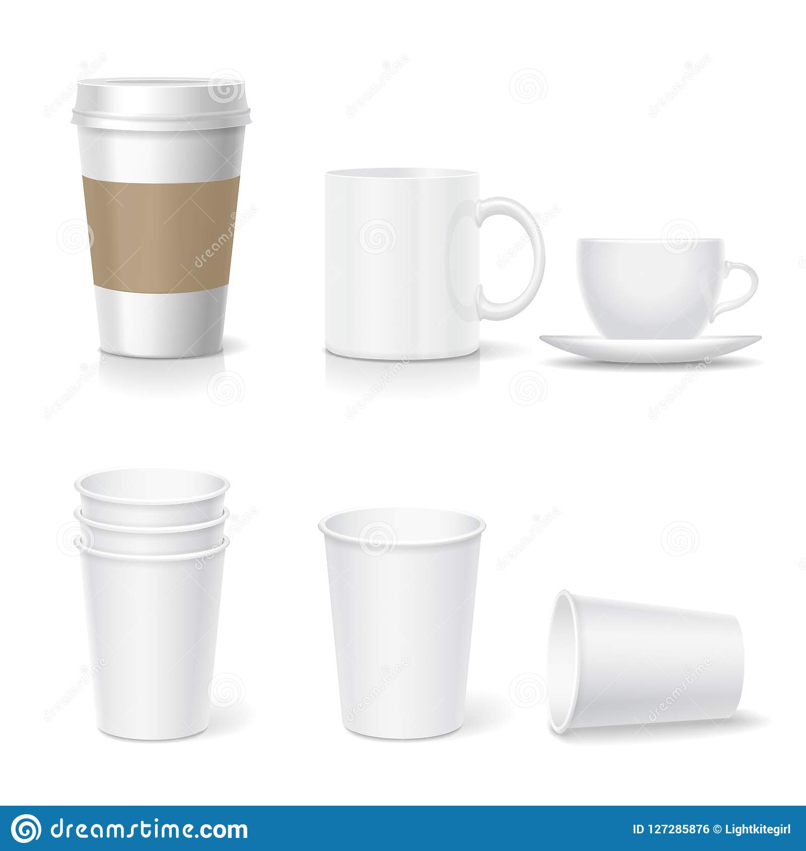 coffee paper cup template and coffee mug set realistic collection