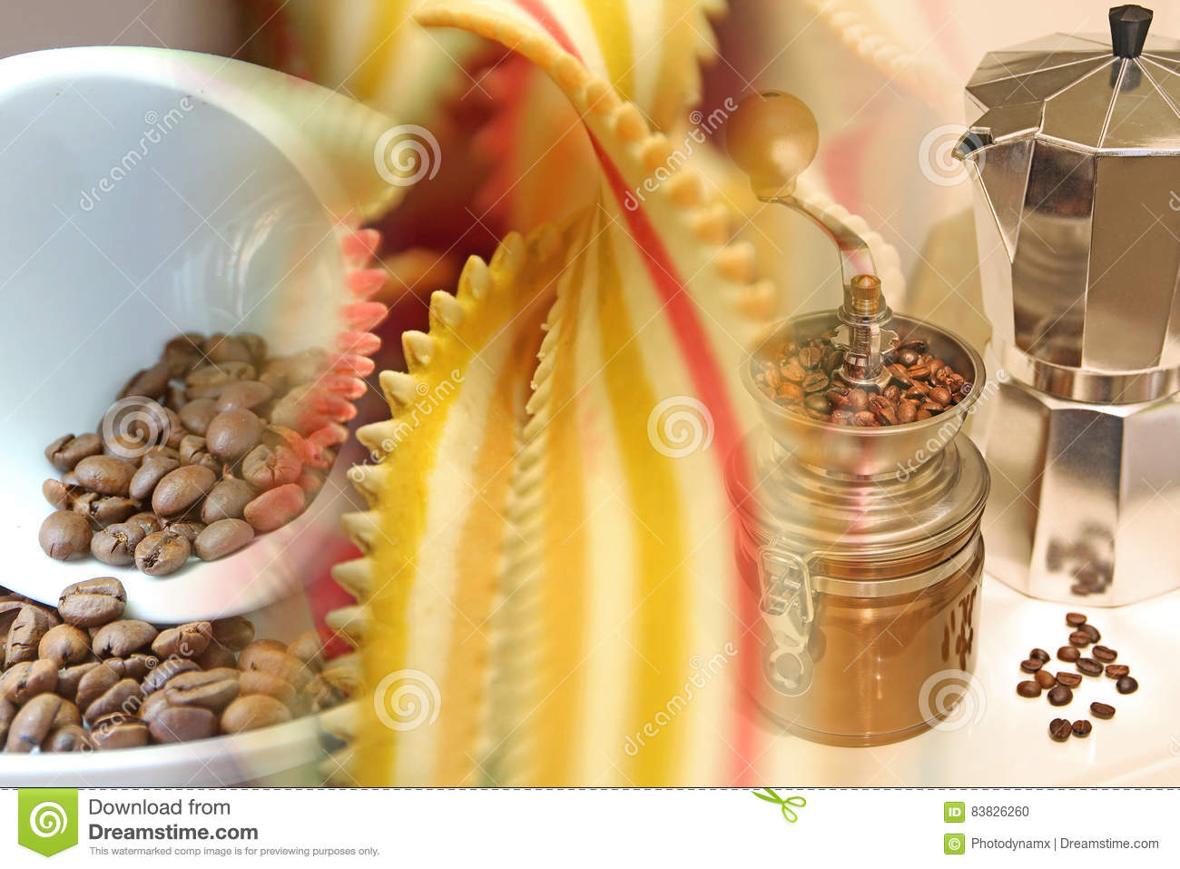 Coffee and pasta collage