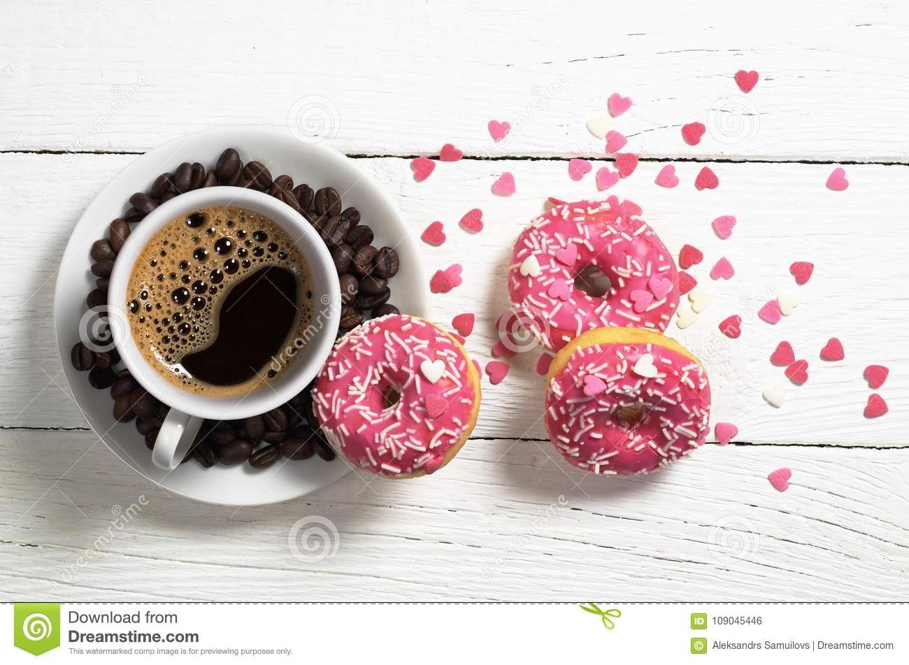 coffee an pink donuts stock photo image of snack sweet 109045446