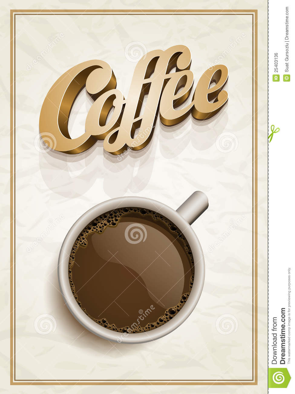 Vector realistic cup of coffee and Coffee text. Design template. All ...