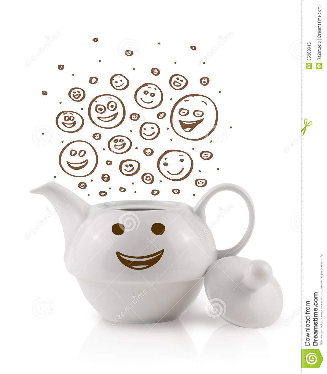 Coffee-pot With Brown Hand Drawn Happy Smiley Faces Royalty Free Stock ...
