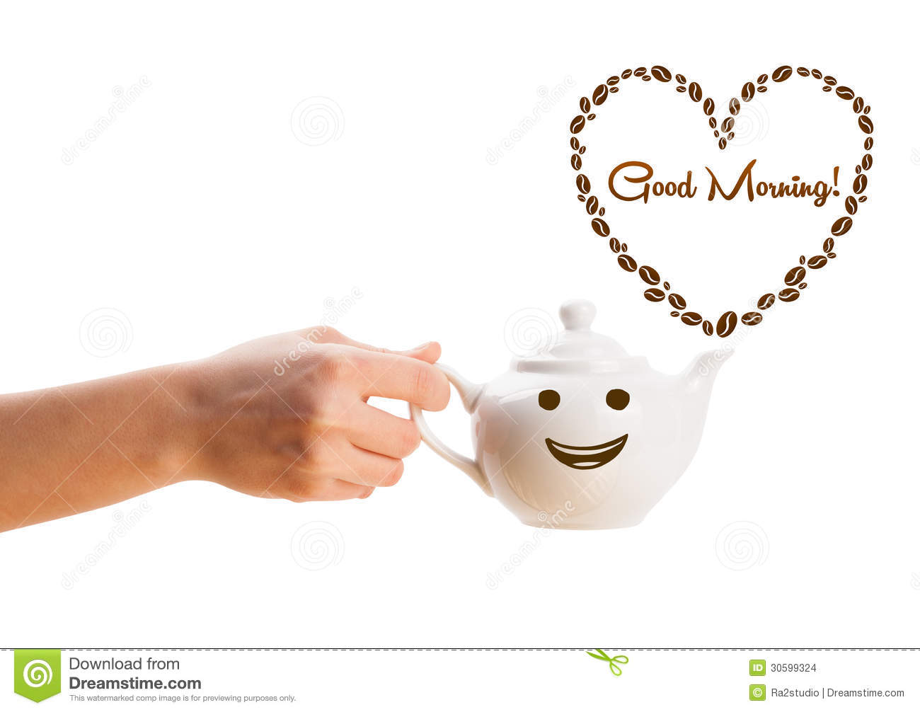 Download Coffee Pot With Coffee Beans Shaped Heart With Good Morning Sign Stock Photo - Image of isolated, bean: 30599324