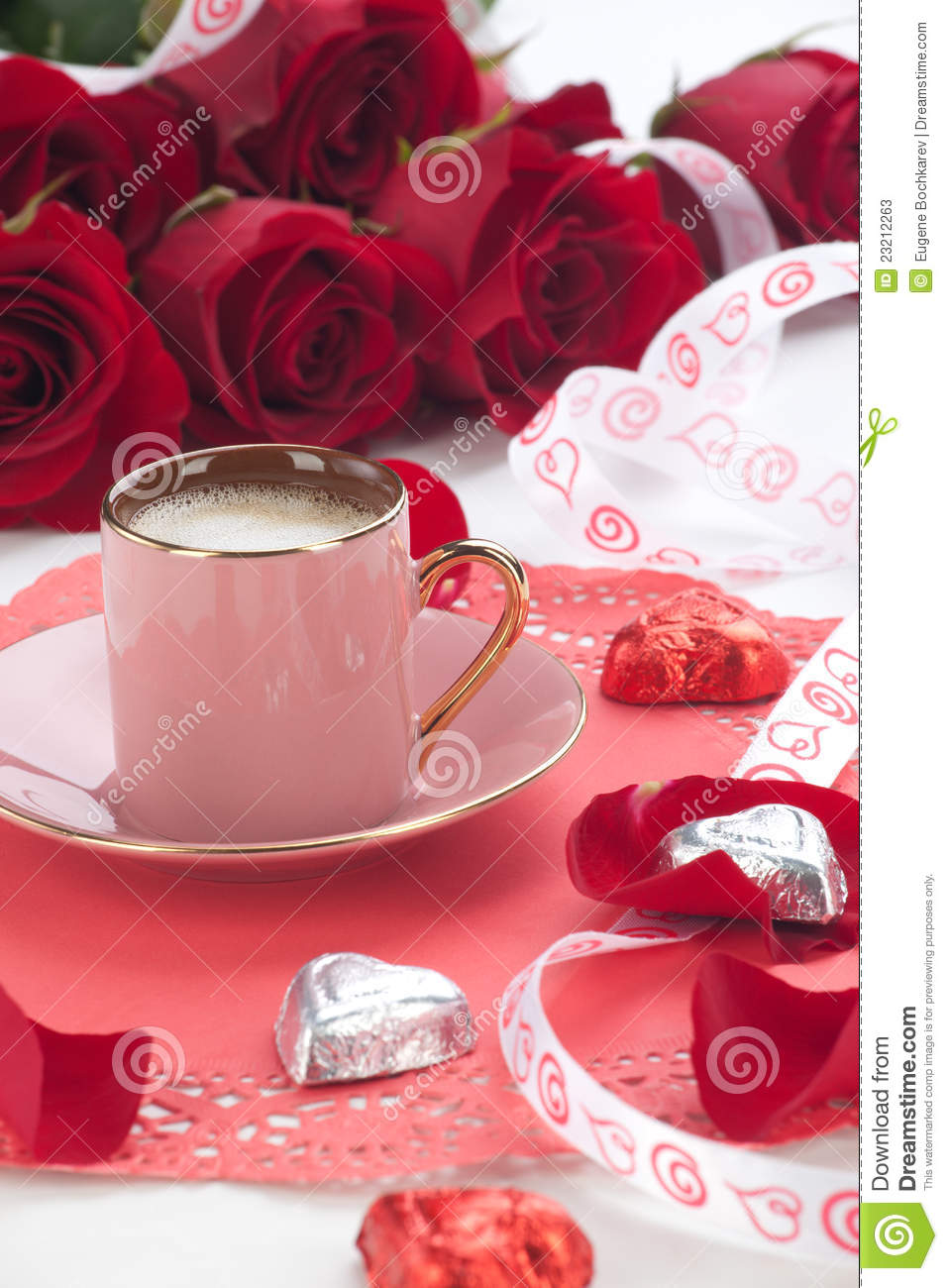 Coffee And Red Roses Stock Photos Image 23212263