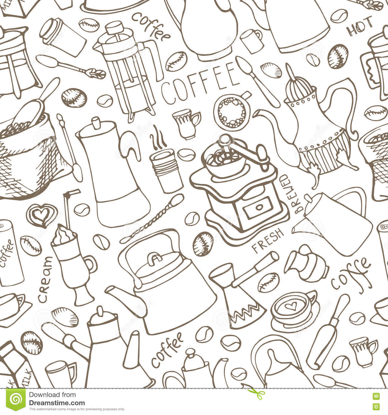 seamless doodle coffee pattern - photo #18