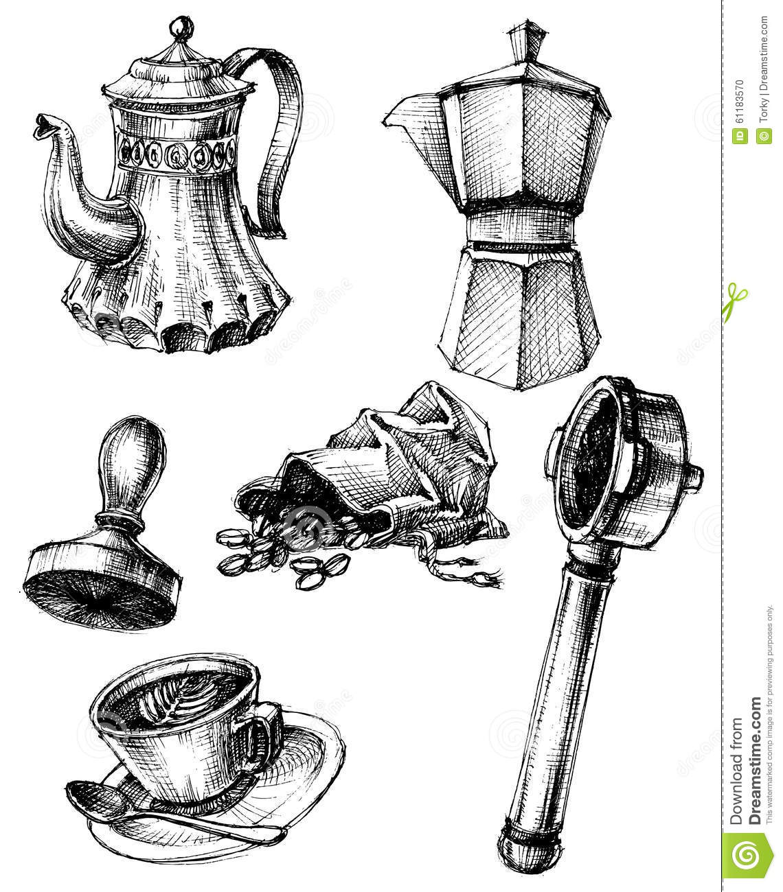 Coffee Related Objects Collection Vector Illustration