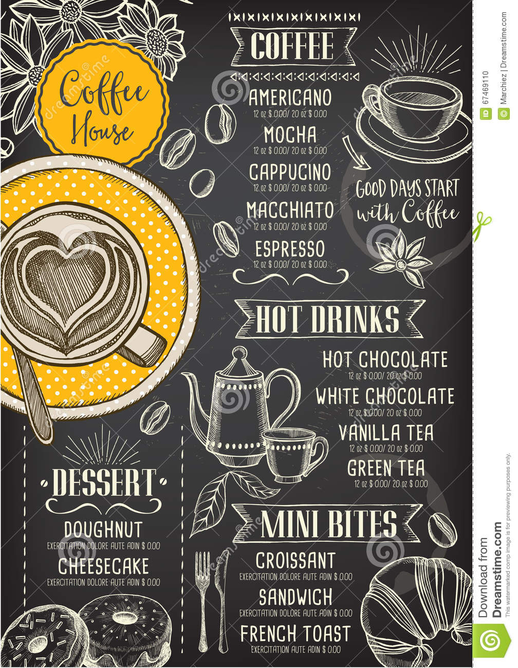 Coffee restaurant cafe menu template design stock vector