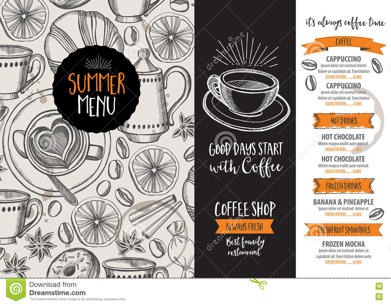 Coffee restaurant cafe menu template design stock