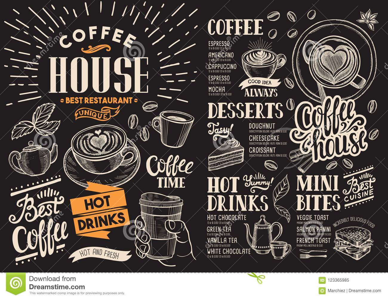 Coffee Restaurant Menu On Chalkboard Vector Drink Flyer For Bar And Cafe Design Template With Vintage Hand Drawn Food Illustrations