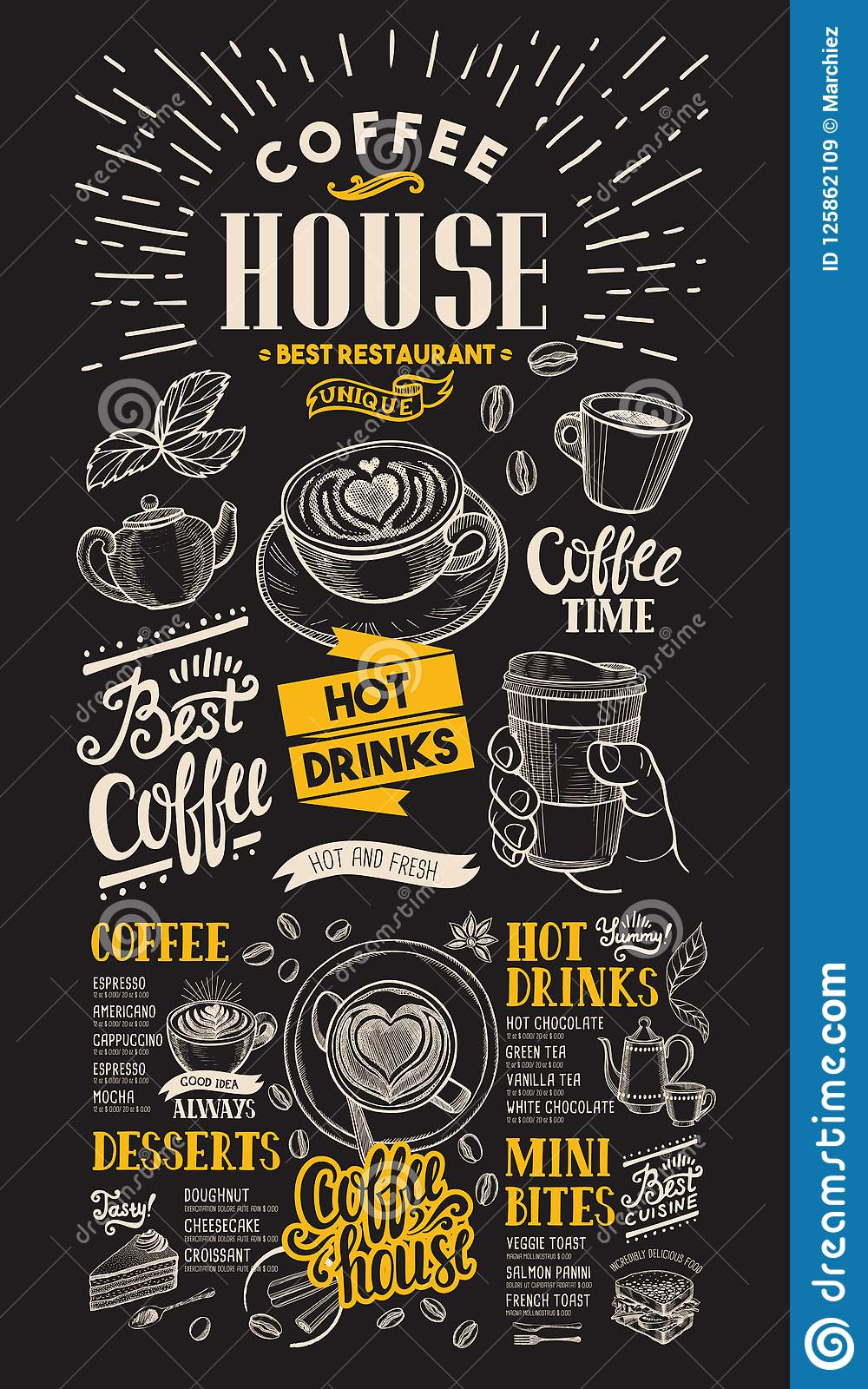 coffee restaurant menu vector drink flyer for bar and cafe on b