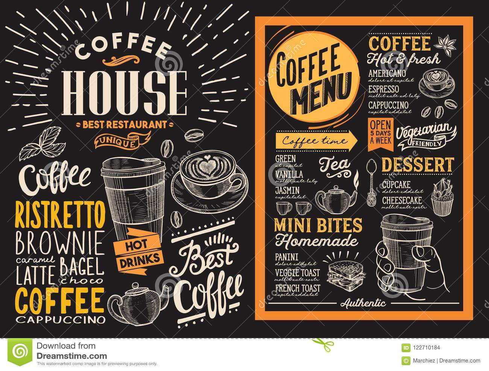coffee restaurant menu vector drink flyer for bar and cafe des