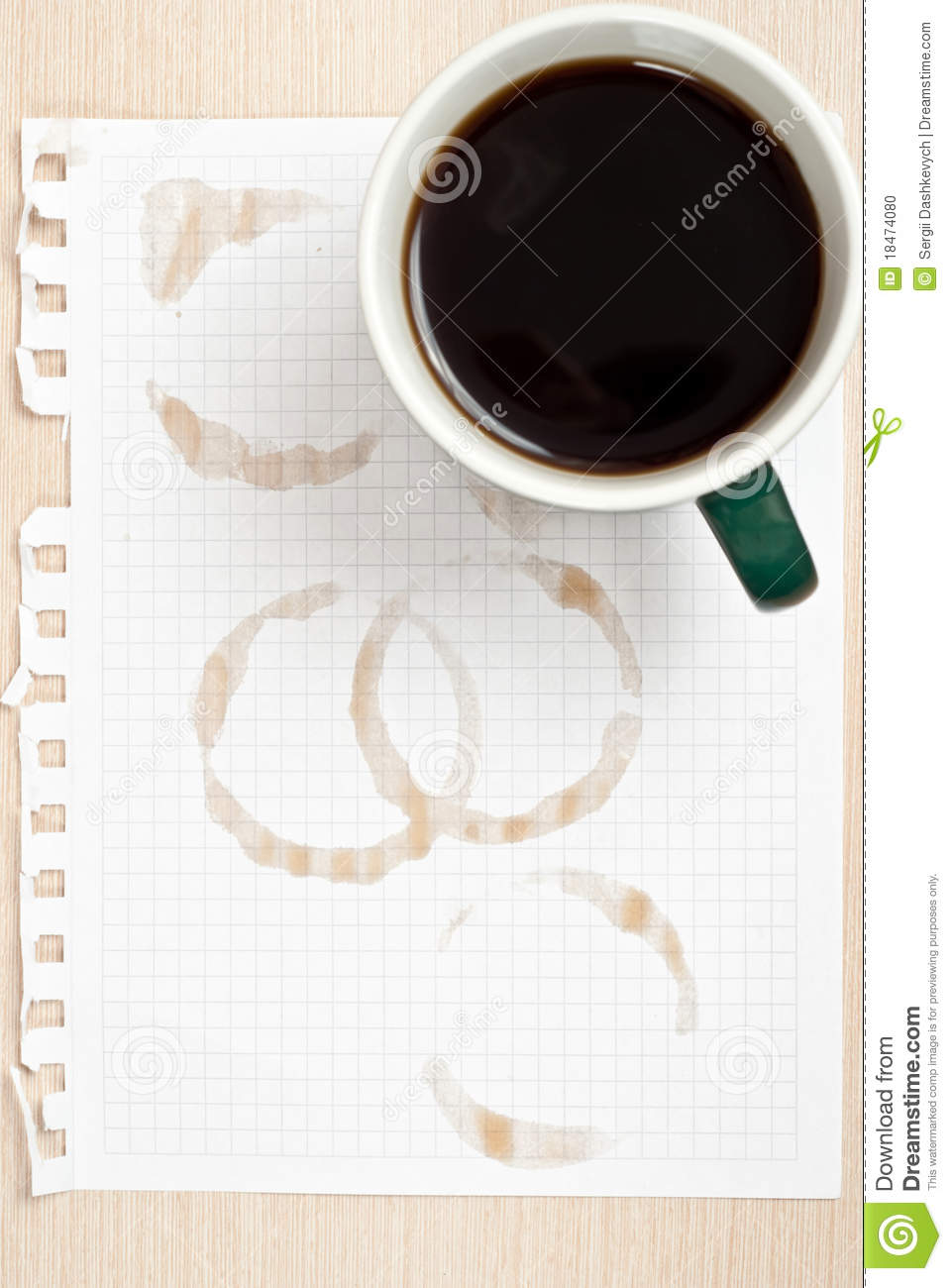 Coffee Ring On Paper Stock Photo - Image: 18474080