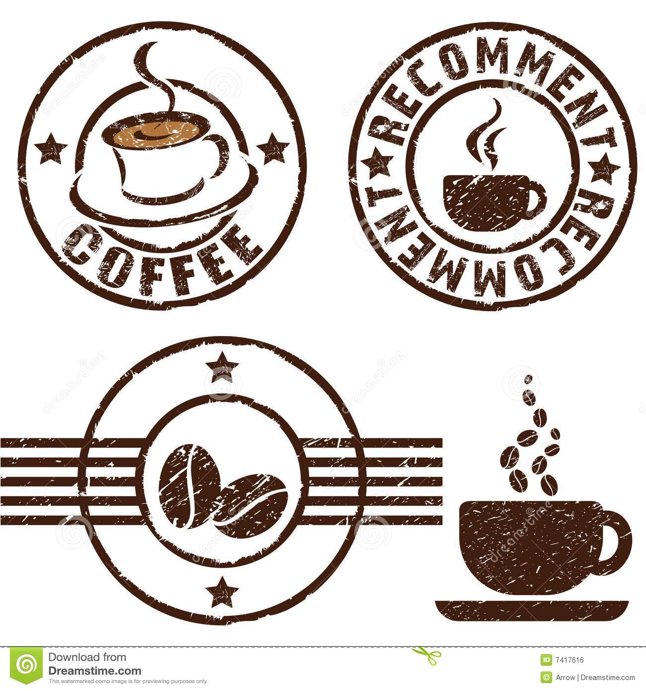 Coffee Rubber Stamps Stock Illustration. Illustration Of