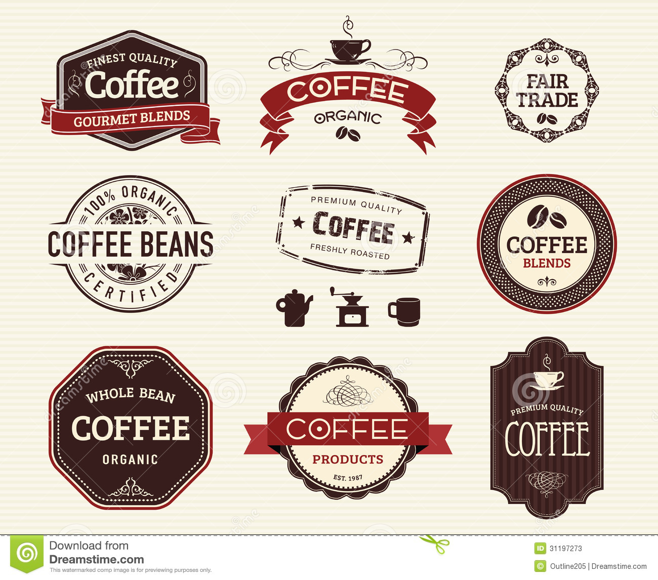 Coffee Seals And Stamps Stock Vector Illustration Of